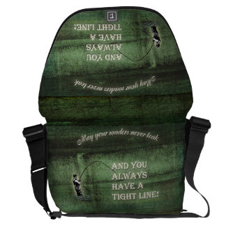 Tight line | waders never leak, Fly fishing wish Messenger Bag