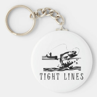 Tight Lines Fishing Basic Round Button Keychain