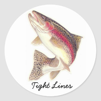 TIght lines Rainbow trout Round Stickers