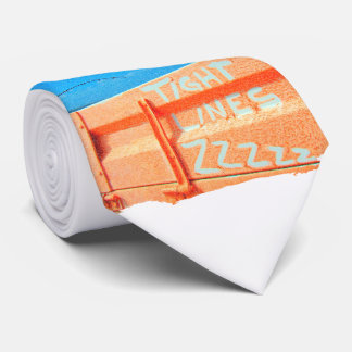 Tight Lines zz blue orange sky fishing rod fishing Tie