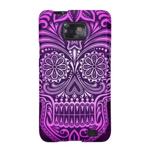 Tight Purple Sugar Skull Galaxy S2 Cases