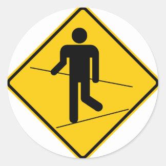 Tightrope Walker Zone Highway Sign Classic Round Sticker