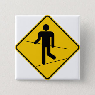 Tightrope Walker Zone Highway Sign Pinback Button