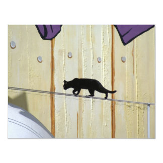 tightrope walking cat card