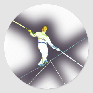 tightrope walking classic round sticker