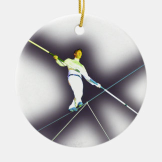 tightrope walking Double-Sided ceramic round christmas ornament
