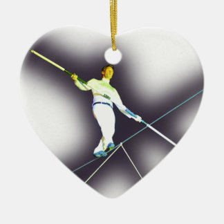 tightrope walking Double-Sided heart ceramic christmas ornament