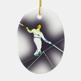 tightrope walking Double-Sided oval ceramic christmas ornament