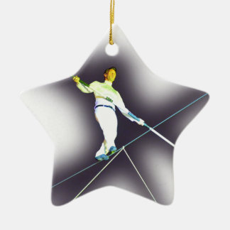 tightrope walking Double-Sided star ceramic christmas ornament