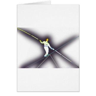 tightrope walking greeting card