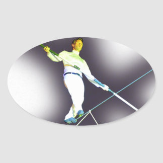 tightrope walking oval sticker