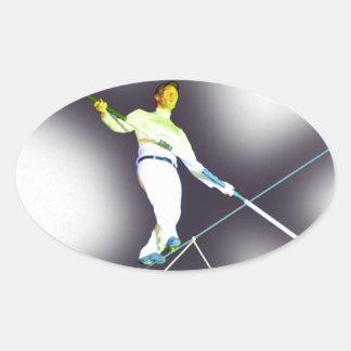 tightrope walking oval sticker