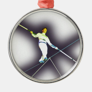 tightrope walking round metal christmas ornament