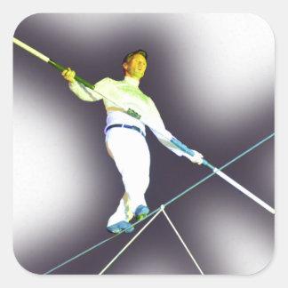 tightrope walking square sticker