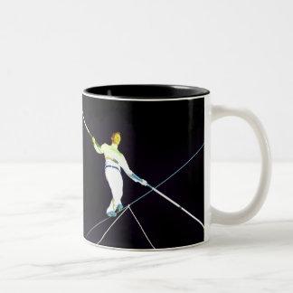 tightrope walking Two-Tone coffee mug