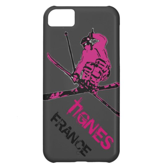 Tignes France pink gray skier iphone 5 case