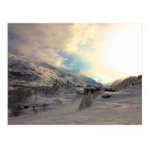 Tignes Les Bois Winter Sunrise Postcard