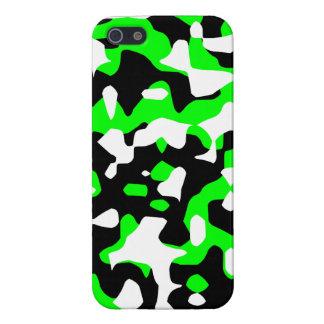 Tigre 80s Camo de neón (verde) de Corey iPhone 5 Protectores