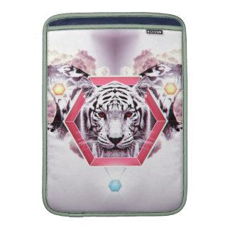 Tigre abstracto en hexágono geométrico fundas para macbook air