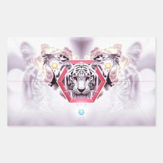 Tigre abstracto en hexágono geométrico pegatina rectangular