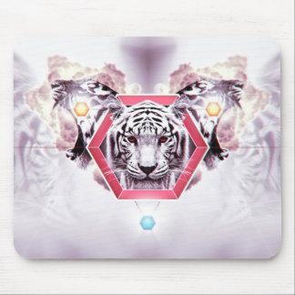 Tigre abstracto en hexágono geométrico tapete de raton