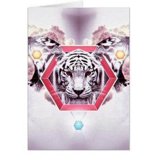 Tigre abstracto en hexágono geométrico tarjeta pequeña