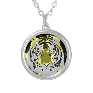 Tigre amarillo gris negro del arte pop colgante redondo