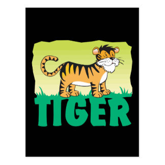 Tigre amistoso del niño postal