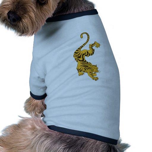 Tigre anaranjado camiseta con mangas para perro