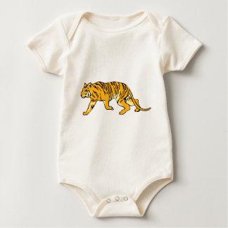 Tigre anaranjado en el vagabundeo body de bebé