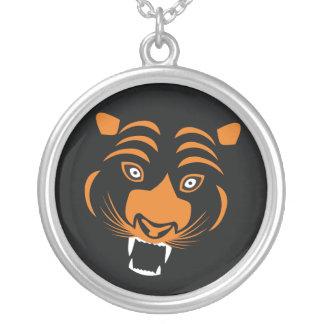 Tigre anaranjado estilizado colgante redondo