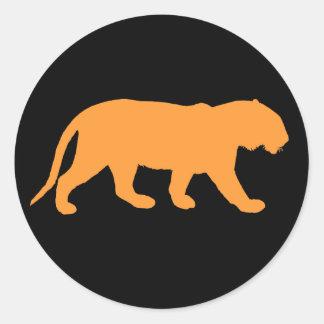 Tigre anaranjado pegatina redonda