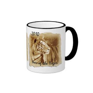 Tigre-Año del vintage del tigre 2010 Taza De Café