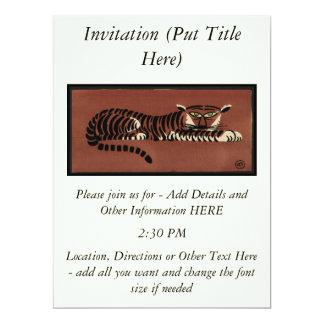 """Tigre - anticuario, ejemplo de libro colorido invitación 6.5"""" x 8.75"""""""