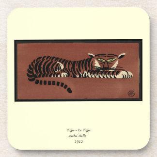 Tigre - anticuario, ejemplo de libro colorido posavasos de bebidas
