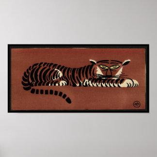 Tigre - anticuario, ejemplo de libro colorido póster