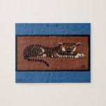 Tigre - anticuario, ejemplo de libro colorido rompecabeza con fotos