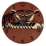 Tigre - anticuario, ejemplo de libro colorido reloj redondo grande