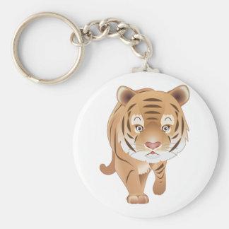 Tigre apacible llavero redondo tipo pin