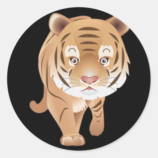 Tigre apacible pegatina redonda