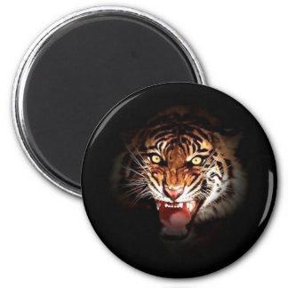 Tigre - arte salvaje de los gatos grandes imán redondo 5 cm