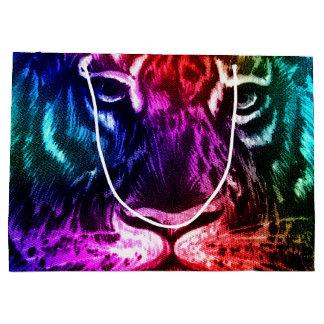Tigre artsy del arco iris bolsa de regalo grande