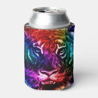 Tigre artsy del arco iris enfriador de latas
