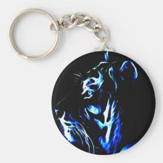 Tigre azul de Fractalius Llavero Redondo Tipo Pin