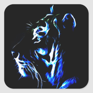 Tigre azul de Fractalius Pegatina Cuadrada