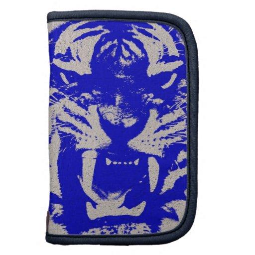 Tigre azul del vintage en final azul del poster de planificador
