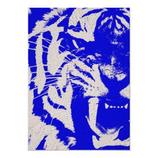 """Tigre azul del vintage en final azul del poster invitación 5"""" x 7"""""""