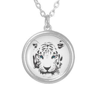 Tigre blanco con los ojos azules colgante redondo