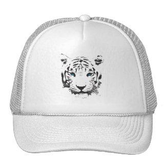 Tigre blanco con los ojos azules gorros bordados