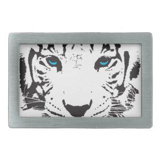 Tigre blanco con los ojos azules hebilla de cinturón rectangular